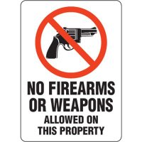 Eco-Friendly Signs - No Firearms or Weapons Allowed On This Property