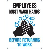 Employees Must Wash Hands Before Returning to Work - Eco-Friendly Signs