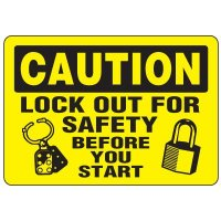Eco-Friendly Signs - Caution Lock Out For Safety Before You Start