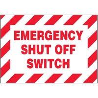 Voltage Warning Labels - Emergency Shut-Off
