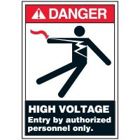 Voltage Warning Labels - High Voltage Entry By Authorized Personnel Only
