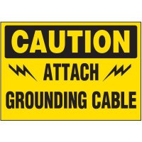 Voltage Warning Labels - Attach Grounding Cable