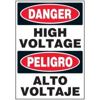 Voltage Warning Labels - Bilingual Danger High Voltage