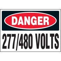 Voltage Warning Labels - Danger 277/480 Volts