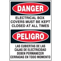 Voltage Warning Labels - Bilingual Electrical Boxes Must Be Covered