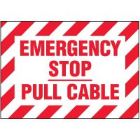 Voltage Warning Labels - Emergency Stop Pull Cable
