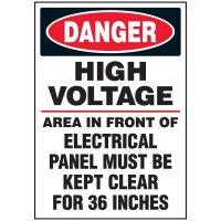 Voltage Warning Labels - Danger High Voltage Keep Clear