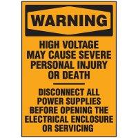 Voltage Warning Labels - Warning High Voltage
