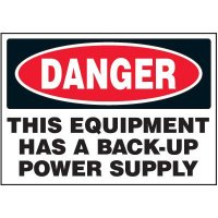Voltage Warning Labels - Danger Back Up Power Supply