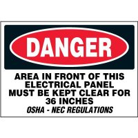 Electrical Safety Labels On A Roll - Danger Area In Front