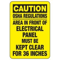 Electrical Safety Signs - Caution Electrical Panel Must Be Kept Clear