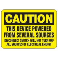 Electrical Safety Signs - Caution This Device Powered From Several Sources