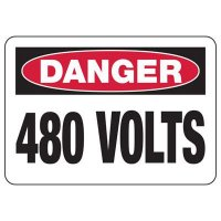 Electrical Safety Signs - Danger 480 Volts