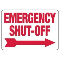 Emergency Shut-Off Sign (Right Arrow)