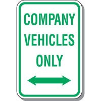 Company Vehicles Only Sign with Arrow