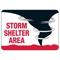 Storm Shelter Area Safety Sign