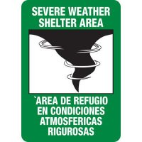 Bilingual Severe Weather Shelter Area Sign