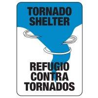 Bilingual Tornado Shelter Safety Sign