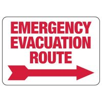 Emergency Evacuation Route (Right Arrow) Sign