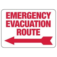 Emergency Evacuation Route (Left Arrow) Sign