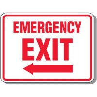 Outdoor Emergency Exit Arrow Sign (Left)