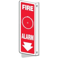 Slim-Line 2-Way Fire Alarm Sign (With Graphic)