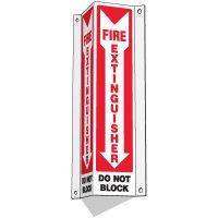 Slim-Line 3-Way Fire Extinguisher Sign - Do Not Block