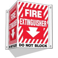 3-Way Fire Extinguisher Sign - Do Not Block