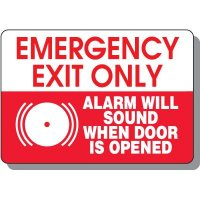 Emergency Exit Alarm Will Sound Safety Sign