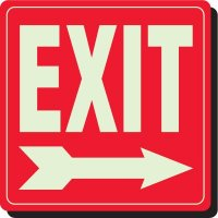 Glow In The Dark Exit Sign (Arrow Right)