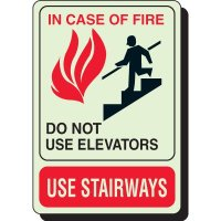 In Case Of Fire Do Not Use Elevator - Glow Sign