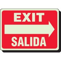 Glow In The Dark Bilingual Exit Signs