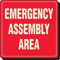Glow In The Dark Emergency Assembly Area Signs