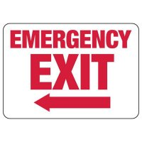 Emergency Exit (Left Arrow) Sign