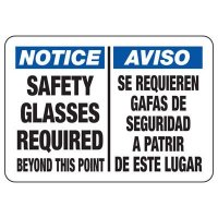 Bilingual Safety Glasses Required Sign