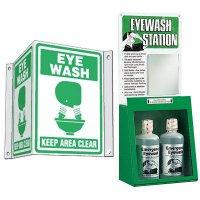 Eyewash and 3-Way Sign Kit - Eye Wash Keep Area Clear