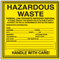Fedaral law Prohibits Hazardous Waste - Container Labels