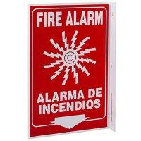 Fire Alarm Bilingual L-Style Sign