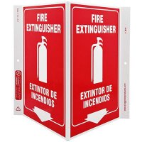 Fire Extinguisher Bilingual V-Style Sign