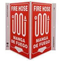 Fire Hose Bilingual V-Style Sign