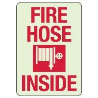 Fire Hose Inside Glow-In-The-Dark Sign