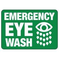 Heavy-Duty First Aid & Eyewash Signs - Emergency Eye Wash with Graphic