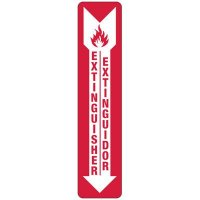 Bilingual Slim-Line Fire Extinguisher Safety Sign