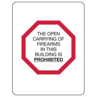 Kansas Firearm Signs - Open Carrying Of Firearms