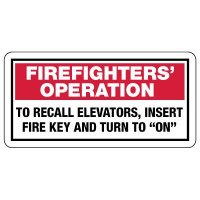 Firefighters' Operation To Recall Elevators Insert Fire Key Sign