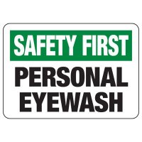 Safety First Signs - Personal Eyewash