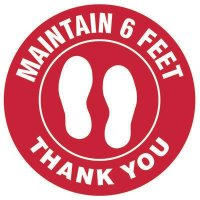 Floor Safety Signs - Maintain 6 Feet - Red