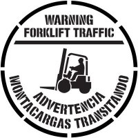 Bilingual Warning Forklift Traffic Floor Stencil Pavement Tool S-5516 D