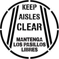 Bilingual Keep Aisle Clear Floor Stencil