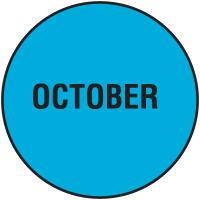 Fluorescent October Dot Labels